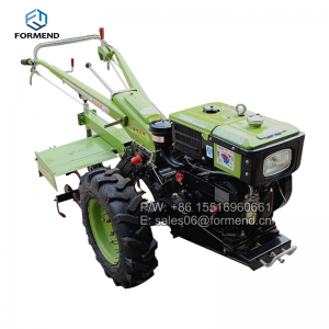 Mini two wheel farm walking tractor with iron wheel trailer